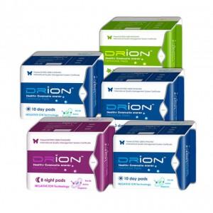 Assorbenti Drion - 3x Giorno + Notte + Salvaslip - biologici a ioni negativi