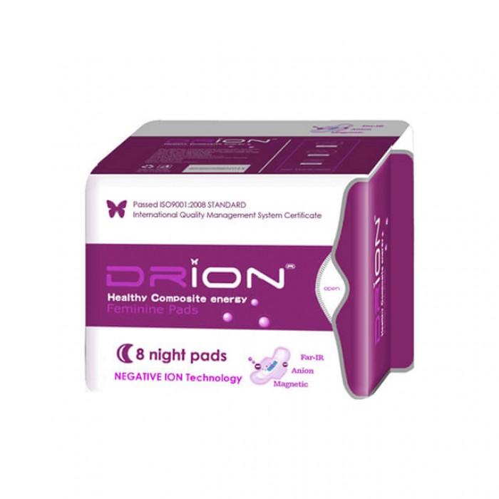 Assorbenti Notte con ali Drion - cotone biologico e ioni negativi