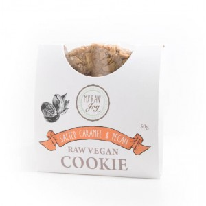 Cookie crudista caramello salato e noci pecan - bio  - 50g