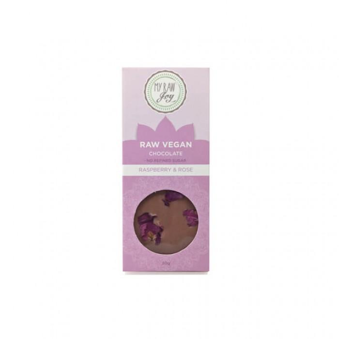 Cioccolato crudo lamponi e rosa - bio  - 30g