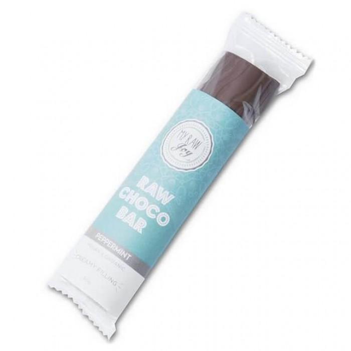 Barretta al cioccolato ripieno menta piperita - raw - bio - 30g