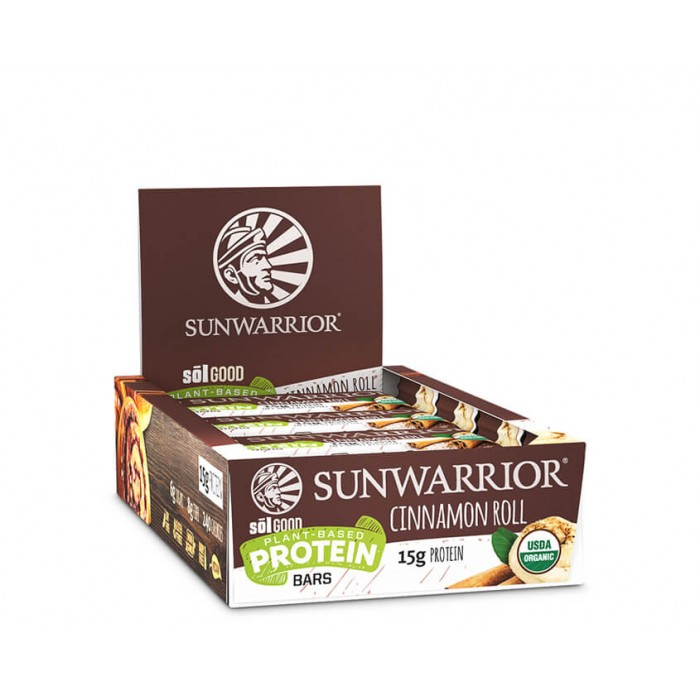 Sunwarrior Sol good barretta proteica - bio - Cinnamon roll - 12 pack